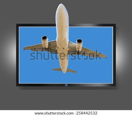 Flat screen tv - the actual image - stock photo