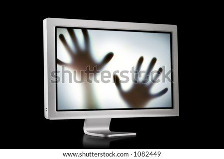 Flat Screen with hands trying to escape - stock photo