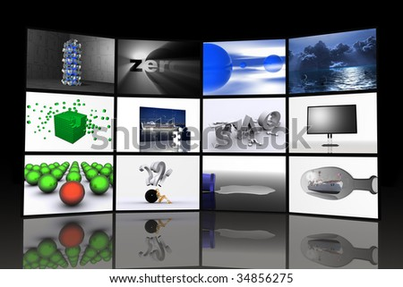 flat screens tv's, digital tv, power on monitors, stack of computer monitors, tv stand, tv comercials,  plasma tv, tv systems, front view of some stacked monitors - stock photo
