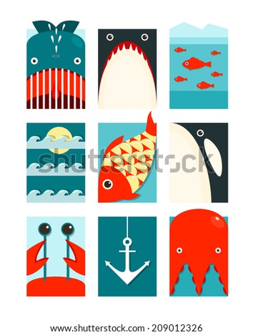 Flat Sea and Fish Rectangular Nautical Set. Marine design collection. Raster variant. - stock photo