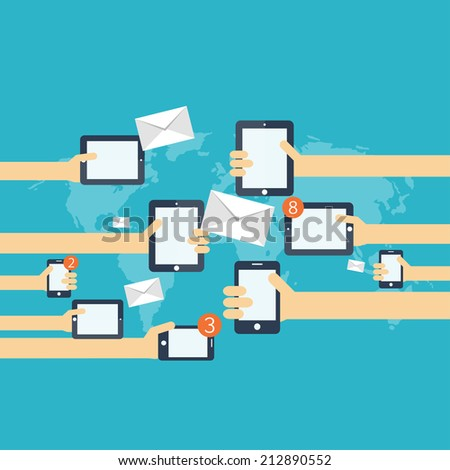 Flat social media and network concept. Global communication. Web site profile avatars. Connection between people. Forum map. - stock photo