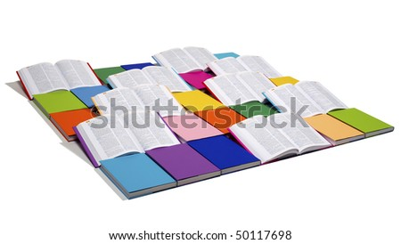 Flat squared arrangement of in rainbow colors paper wrapped books and open books isolated on white background, view from top-left, PHOTOGRAPH, NOT 3D RENDER. - stock photo