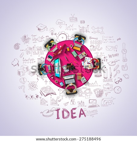 Flat Style Design Concepts for business strategy and career. Ideal for corporate brochures, flyers, digital marketing, product or idea presentations, web banners and so on . - stock photo