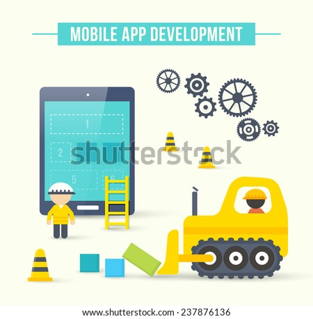 Flat style illustration concept of mobile app development. Infographic design for process of smartphone application construction - stock photo