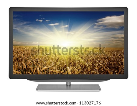 flat television on the white backgrounds. monitor computer - stock photo