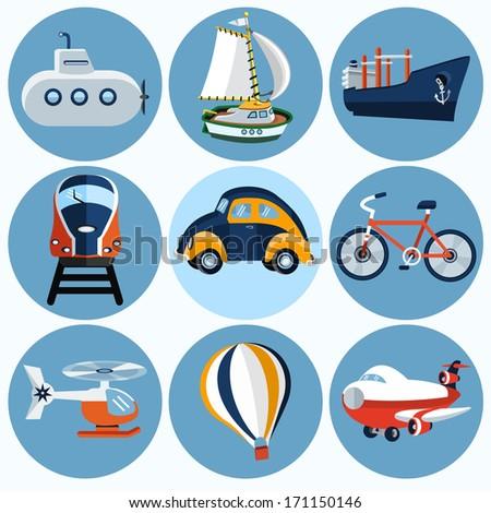 Flat transportation icon - set - stock photo