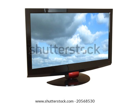 Flat tv set isolated on white, with clipping path inside and outside