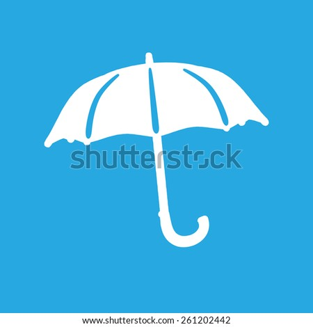 flat umbrella icon on a blue background - stock photo