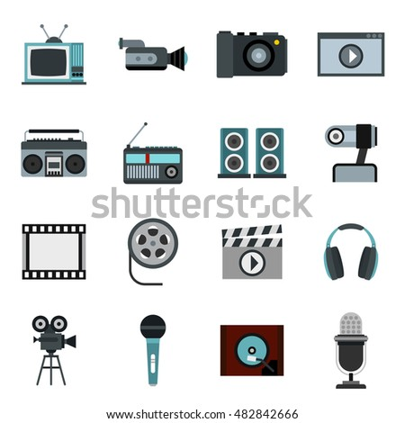 Flat video icons set. Universal video icons to use for web and mobile UI, set of basic video elements isolated  illustration