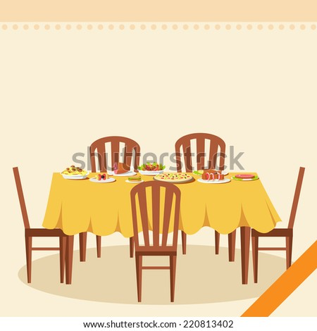 Flat vintage dinner table with many food background illustration concept - stock photo