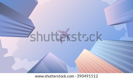 Flat web banner on the theme of travel by airplane, vacation, adventure. Airplane flying over business skyscrapers, high-rise buildings. Transport, transportation, travel. Modern flat design. - stock photo