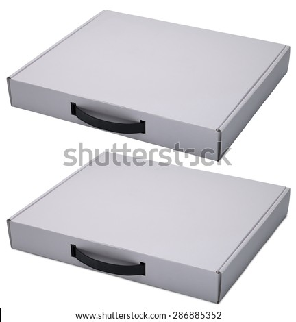 Flat white cardboard box with handle isolated on white. With shadow and without. In horizontal situation. - stock photo
