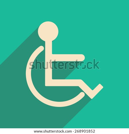 Flat with shadow icon and mobile applacation wheelchair - stock photo