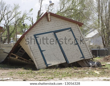 Flattened Garage in Windsor Tornado - stock photo