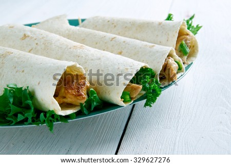 Flautas with chicken,Delicious mexican tacos  - stock photo