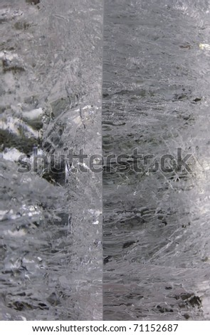 Flaws of transformation: detail of manmade block of ice cracking as it starts to melt