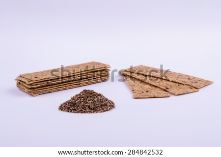 Flax chips with seed - stock photo