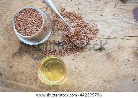 flax oil - stock photo