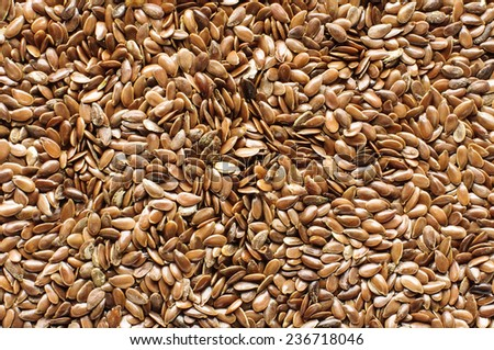 Flax seed and flax bran background - stock photo