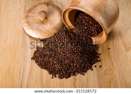 Flax seed, organic food for healthy eating. - stock photo