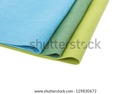Flax table napkins on white background isolated - stock photo