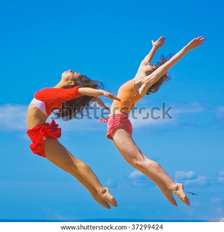 Flexible gals! - stock photo