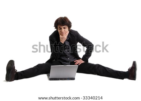 Flexible thinking business woman - stock photo