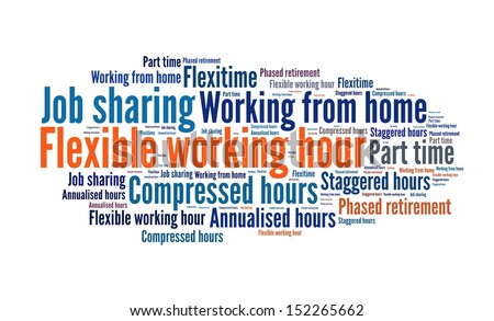 Flexible working in word collage - stock photo