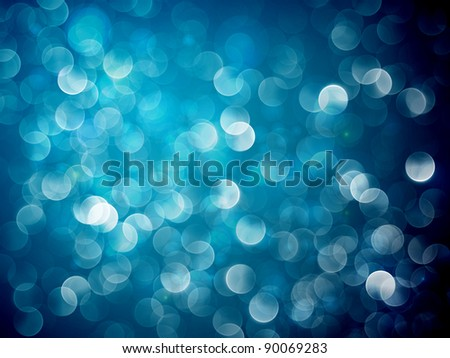 Flickering Blue Lights | Christmas Background - stock photo