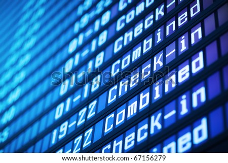 Flight arrival board in airport, closeup. Abstract background. - stock photo