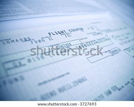 """flight coupon close-up, shallow DOF, focus on """"flight"""" word - stock photo"""