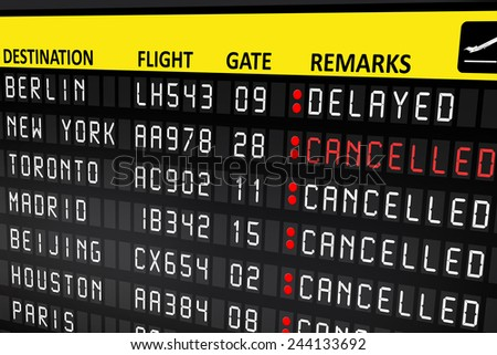 Flight delayed or cancelled display panel in airport - stock photo