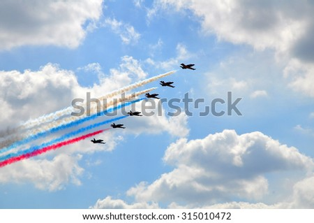 Flight during the air show - stock photo