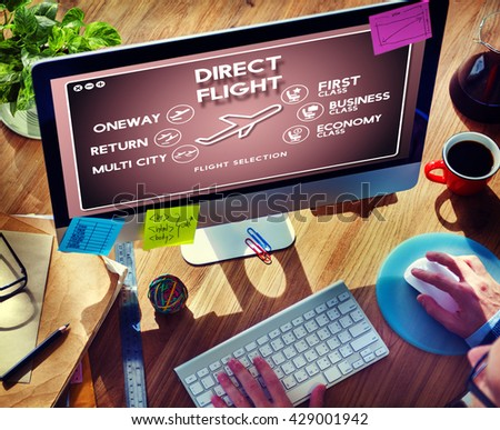 Flight Information Selection Tourism Transport Concept - stock photo