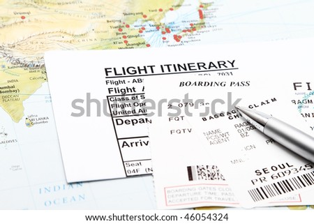 Flight Itinerary,boarding pass and baggage claim. - stock photo