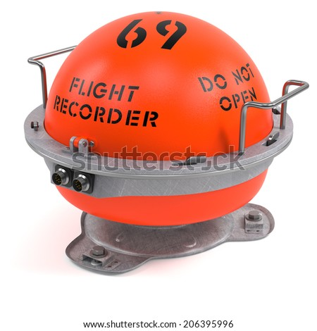 Flight recorder isolated on white background 3D - stock photo