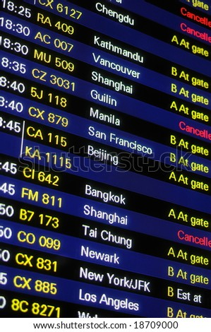 Flight schedule information board in an airport - stock photo