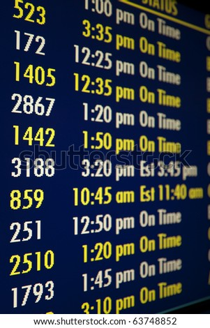 Flight time reader board sign, shallow depth of field. Vertical shot. - stock photo
