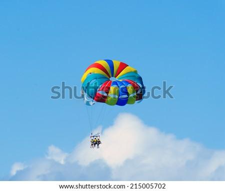 Flight to parachute - stock photo