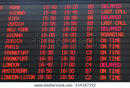 Flights departure information timetable in airport terminal - stock photo