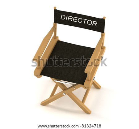 Flim industry: top view of directors chair over white background