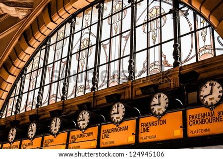 Flinders Street Station The entrance to Flinders Street Station. Australia, Melbourne. ( HDR image ) - stock photo