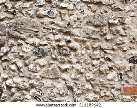 Flint stone wall - stock photo