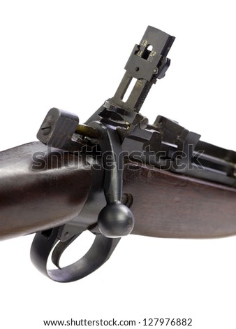 Flintlock Frizzen and trigger part of rifle - stock photo