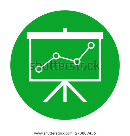 Flip-chart, projection screen with a graph - stock photo