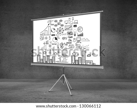 flip chart with business concept in concrete room - stock photo
