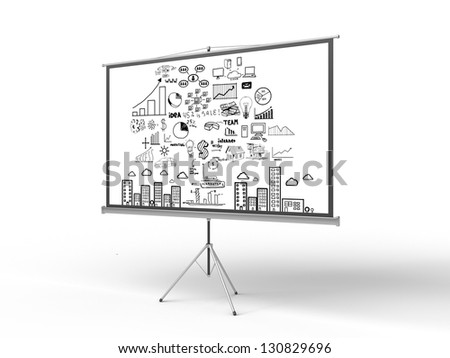 flip chart with business concept in room - stock photo