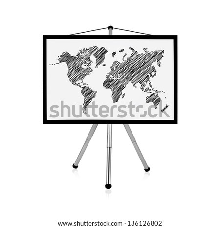 flip chart with drawing world map - stock photo