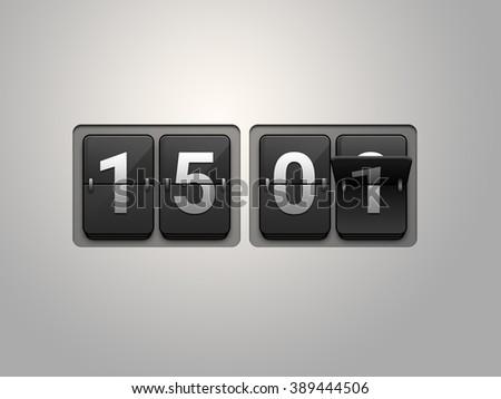 Flip clock show 15:01 on light grey background. - stock photo