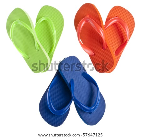 Flip Flop Sandals in Heart Shapes for Summer Love Concepts. - stock photo